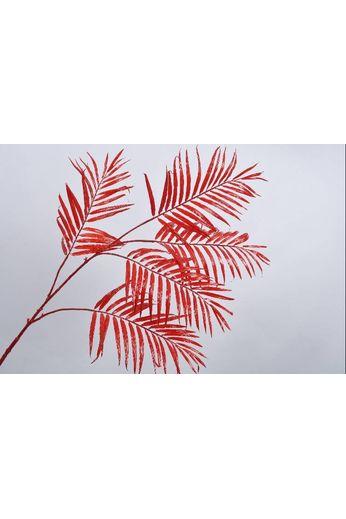 Silk-ka Branche feuille palmier rouge 147 cm