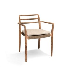 Gommaire Stackable Armchair Jared | Teak Natural Grey & PE Wicker Antique Weed