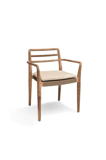Gommaire Stackable Armchair Jared | Teak Natural Gray & PE Wicker Antique Weed