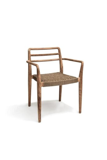 Gommaire Chair '' Jared '' Teak natural gray & PE wicker - (stackable)