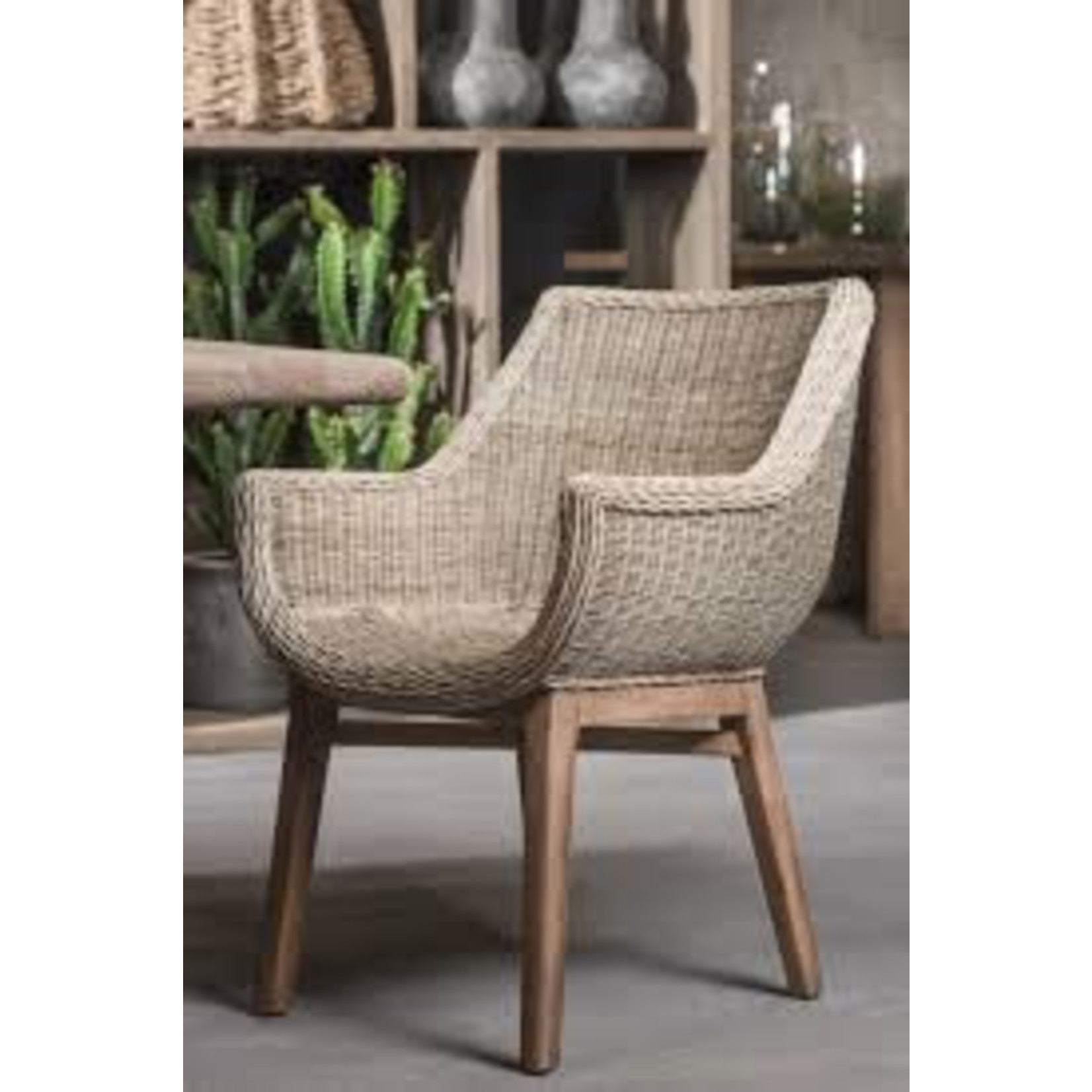 Gommaire Armchair Jacky   Teak Natural Grey / PE Wicker Natural