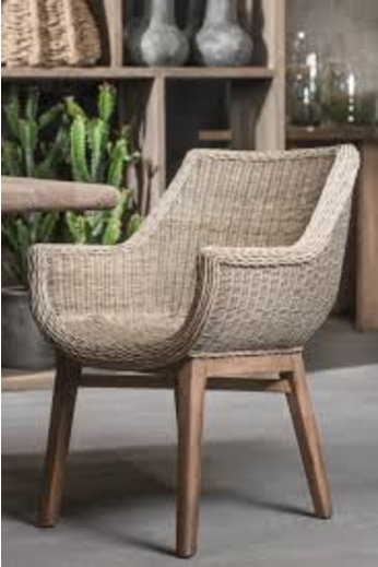 Gommaire Chair '' Jacky '' Teak natural gray & PE wicker natural