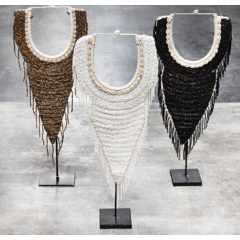 Beaded chain point straight - white