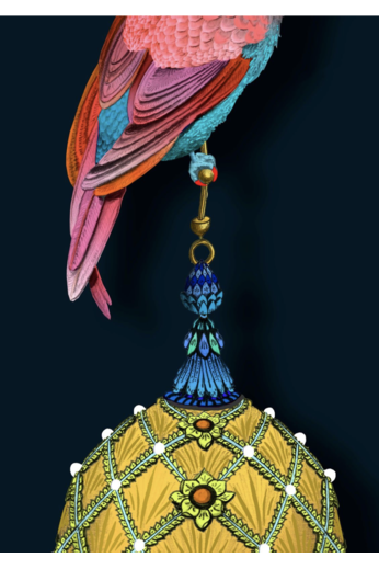 Kit Miles Pendants and Ornamental Birds | Magenta and Teal