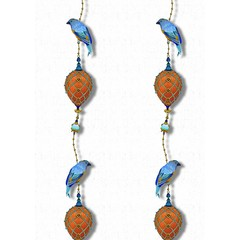 Kit Miles Pendants and Ornamental Birds   Cobalt Blues & Burnt Orange