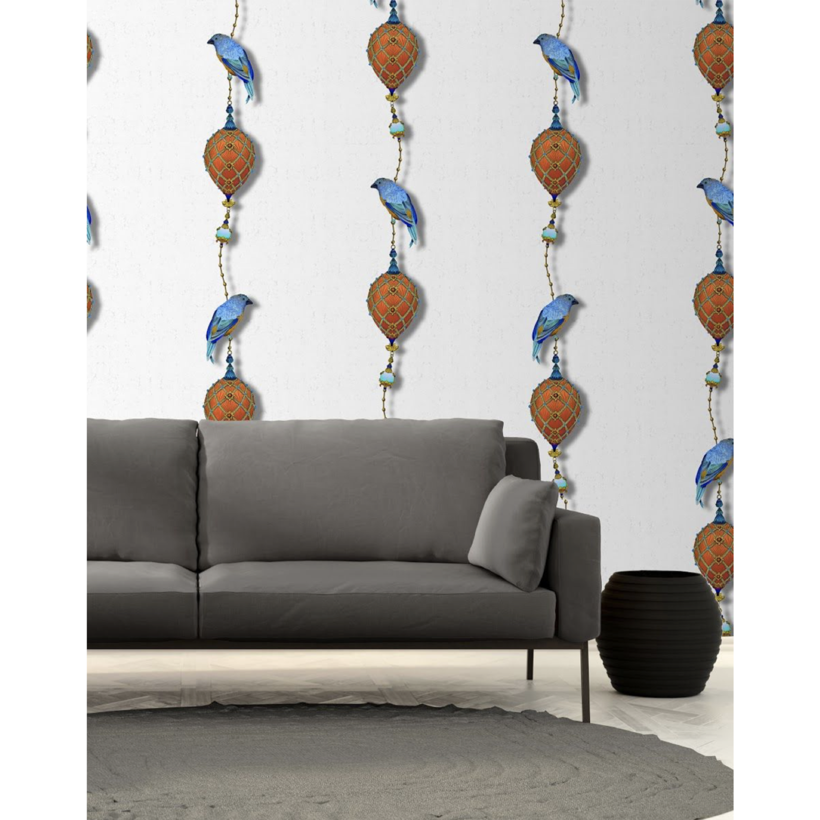 Kit Miles Pendentifs et oiseaux d'ornement | Cobalt Blues & Orange Brûlée