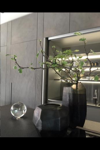 Guaxs Vase Cubistic Round | Indigo / Smokegrey