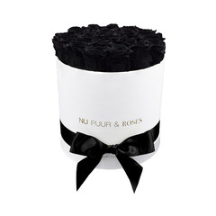 Medium - Black Endless Roses - White Box