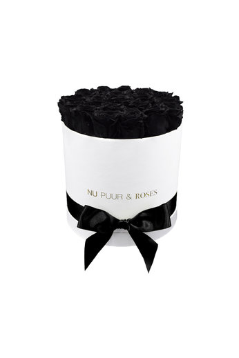 Medium - Black Endless Roses - White Box