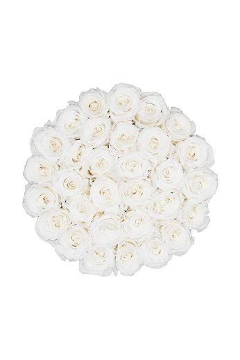 Large - Roses Éternel Blanches - Boîte Blanche