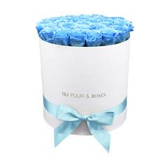 Large - Roses Éternel Bleu - Boîte Blanche