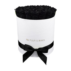 Large - Black Endless Roses - White Box