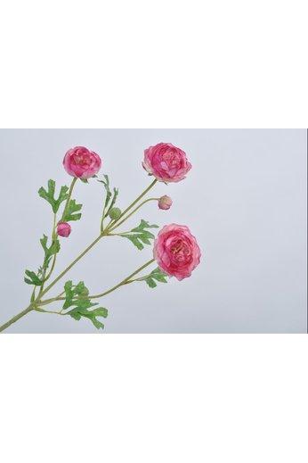 Silk-ka Branche de renoncule rose 66 cm