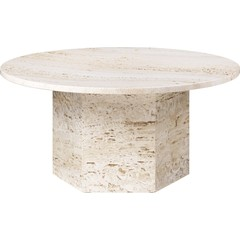 Table basse ronde épique Ø80 cm | Travertin blanc