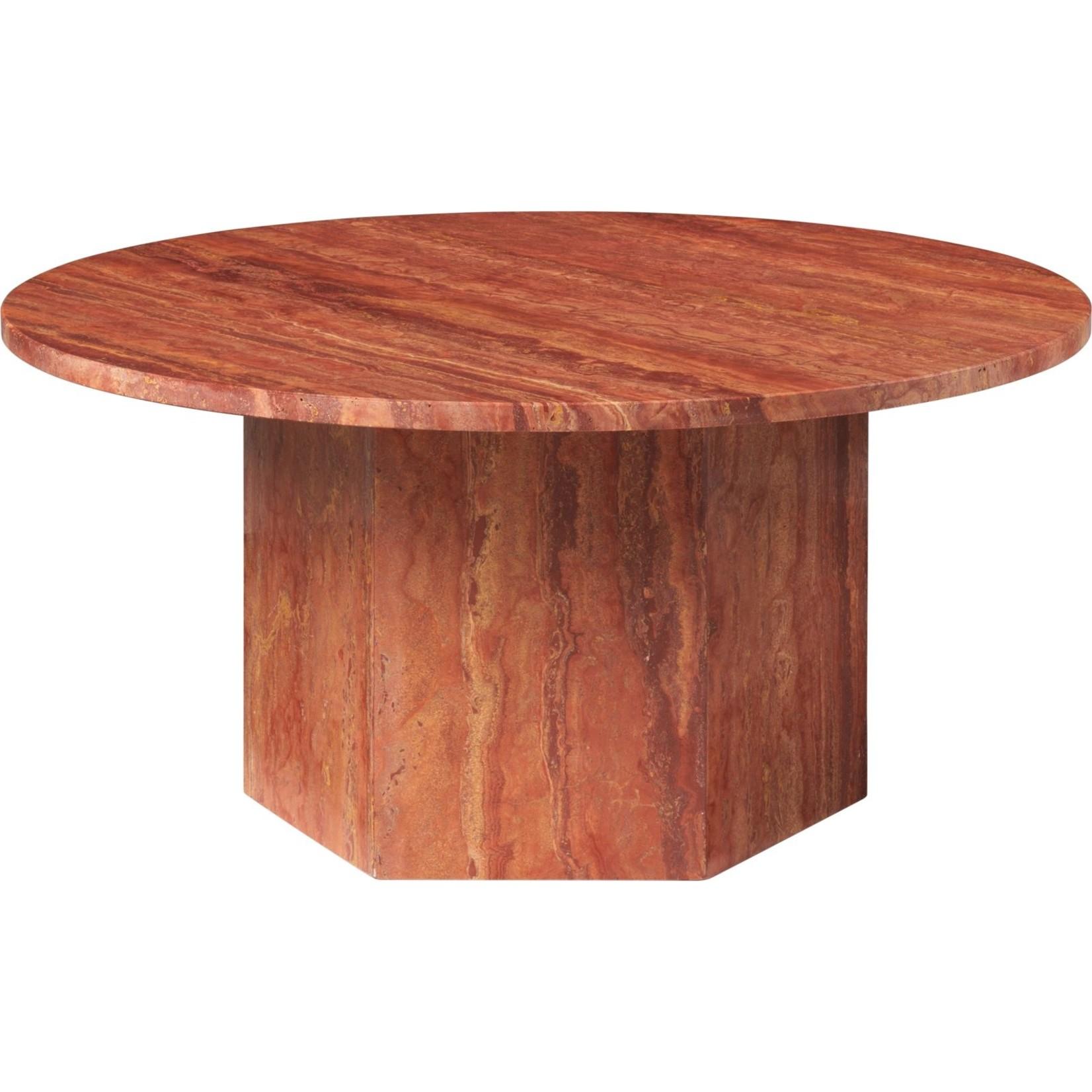 Gubi Table basse Epic ronde Ø80 | Travertin rouge