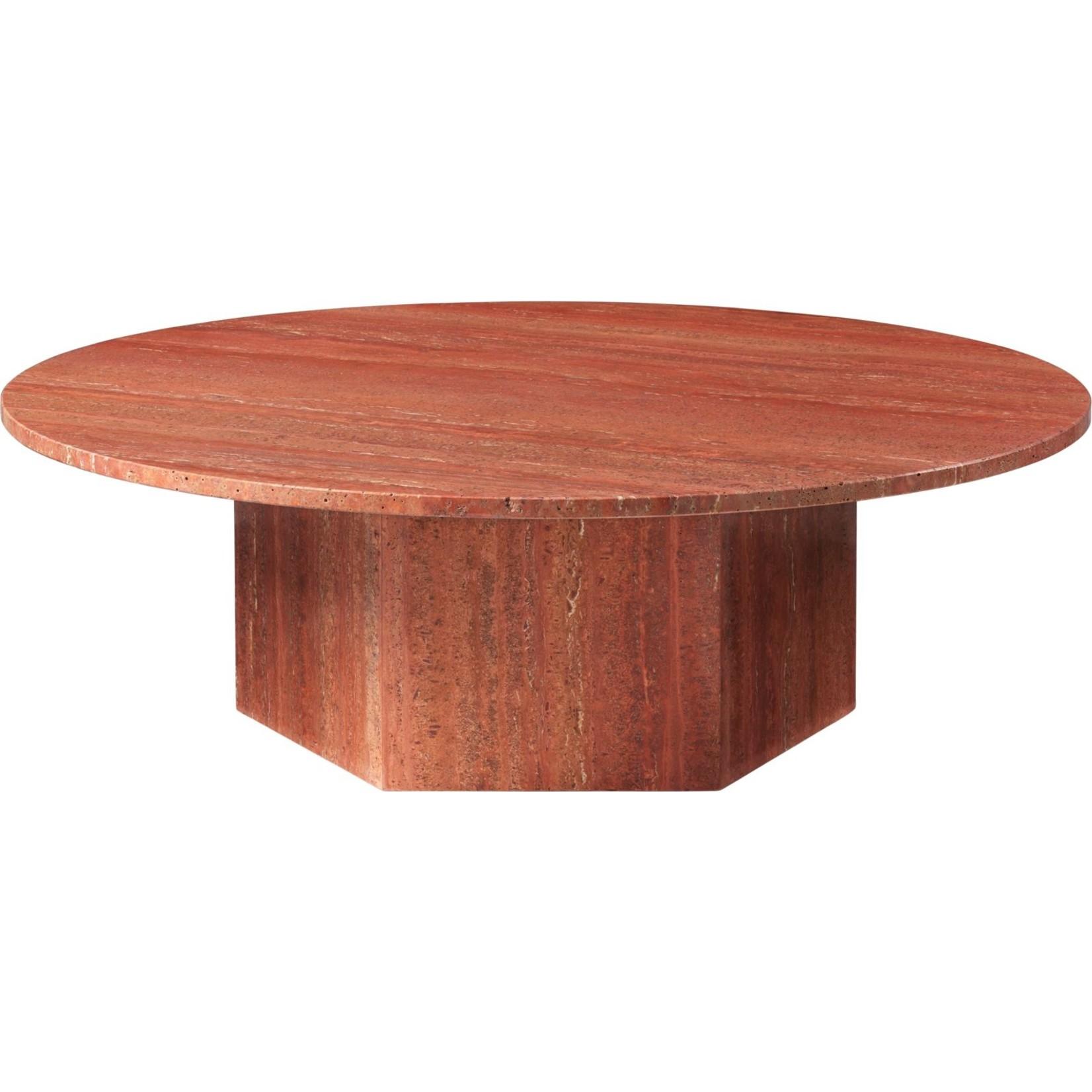 Gubi Table basse Epic ronde Ø110 | Travertin rouge