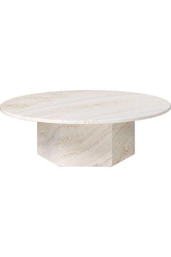 Table basse ronde épique Ø110 cm | Travertin blanc