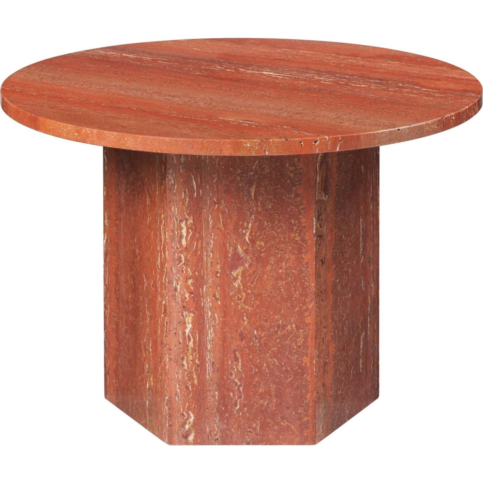 Gubi Table basse Epic ronde Ø60   Travertin rouge