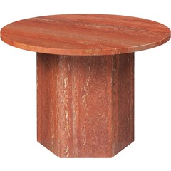 Table basse ronde épique Ø60 cm | Travertin rouge