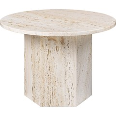 Table basse ronde épique Ø60 cm | Travertin blanc