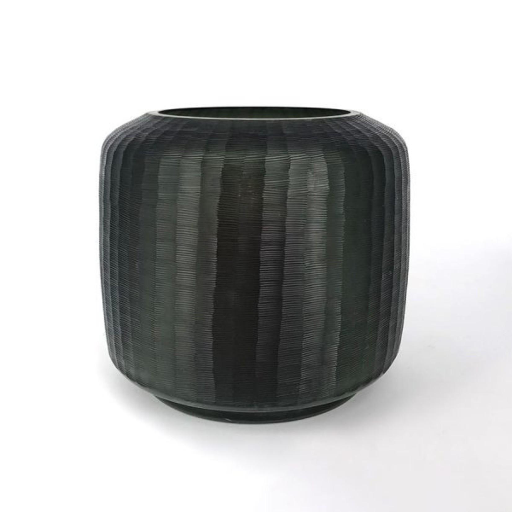 Glass Vase on base | Gray
