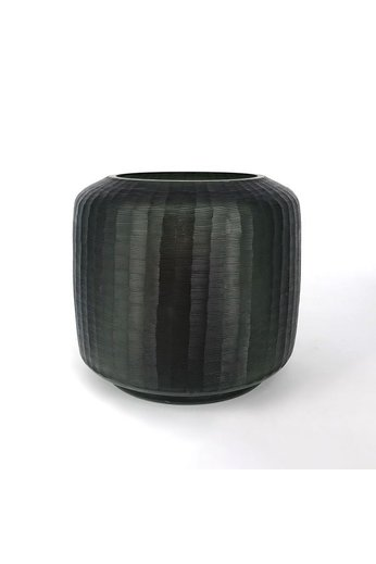 Glass Vase on base   Grey