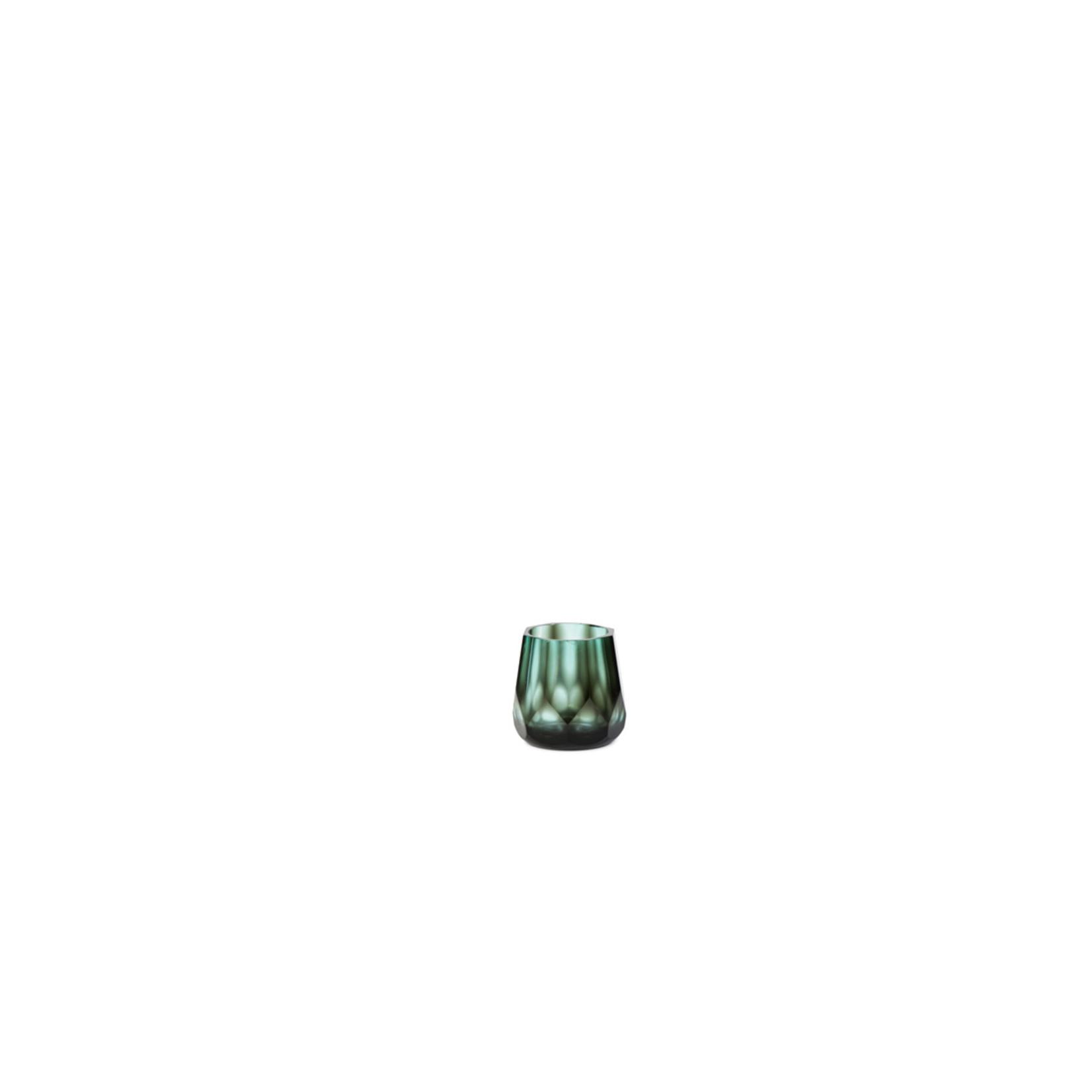 T-Light Holder Faceted | Gray / Aqua