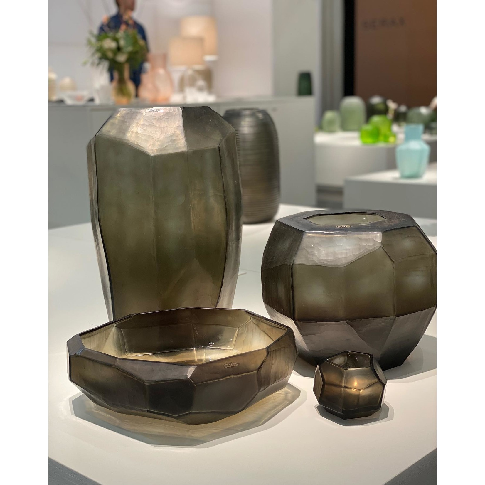 Guaxs Vase Cubistic Tall   Indigo / Smokegrey