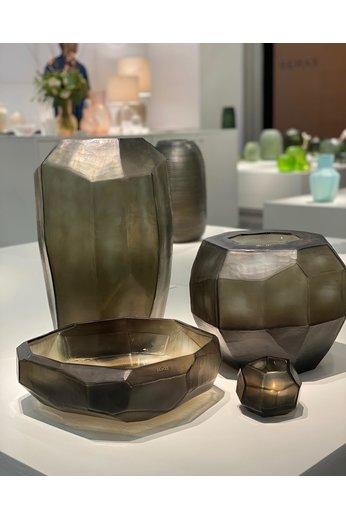 Guaxs Vase Cubistic Round | Indigo / Gris fumé