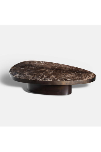 Rapture Table basse Heddix grande | Marbre Emperador & Patine Bronze