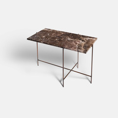 Rapture Josephine Side Table | Emperador Brown Marble & Bronze Patina