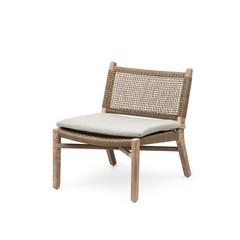 Gommaire Petit fauteuil Fiona | Teck Naturel Gris & PE Osier Antique Mauvaises Herbes