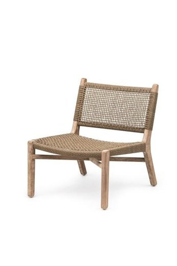 Gommaire Easy Chair Fiona   Teak Natural Gray & PE Wicker Antique Weed