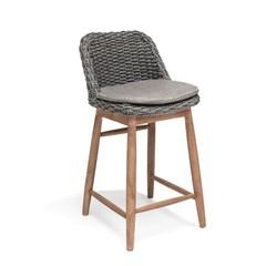Gommaire Chaise de bar Sienna | Teck récupéré gris naturel / charbon de bois d'osier PE