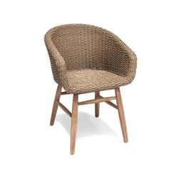 Gommaire Armchair Charly | Reclaimed Teak Natural Gray & PE Wicker Antique Weed