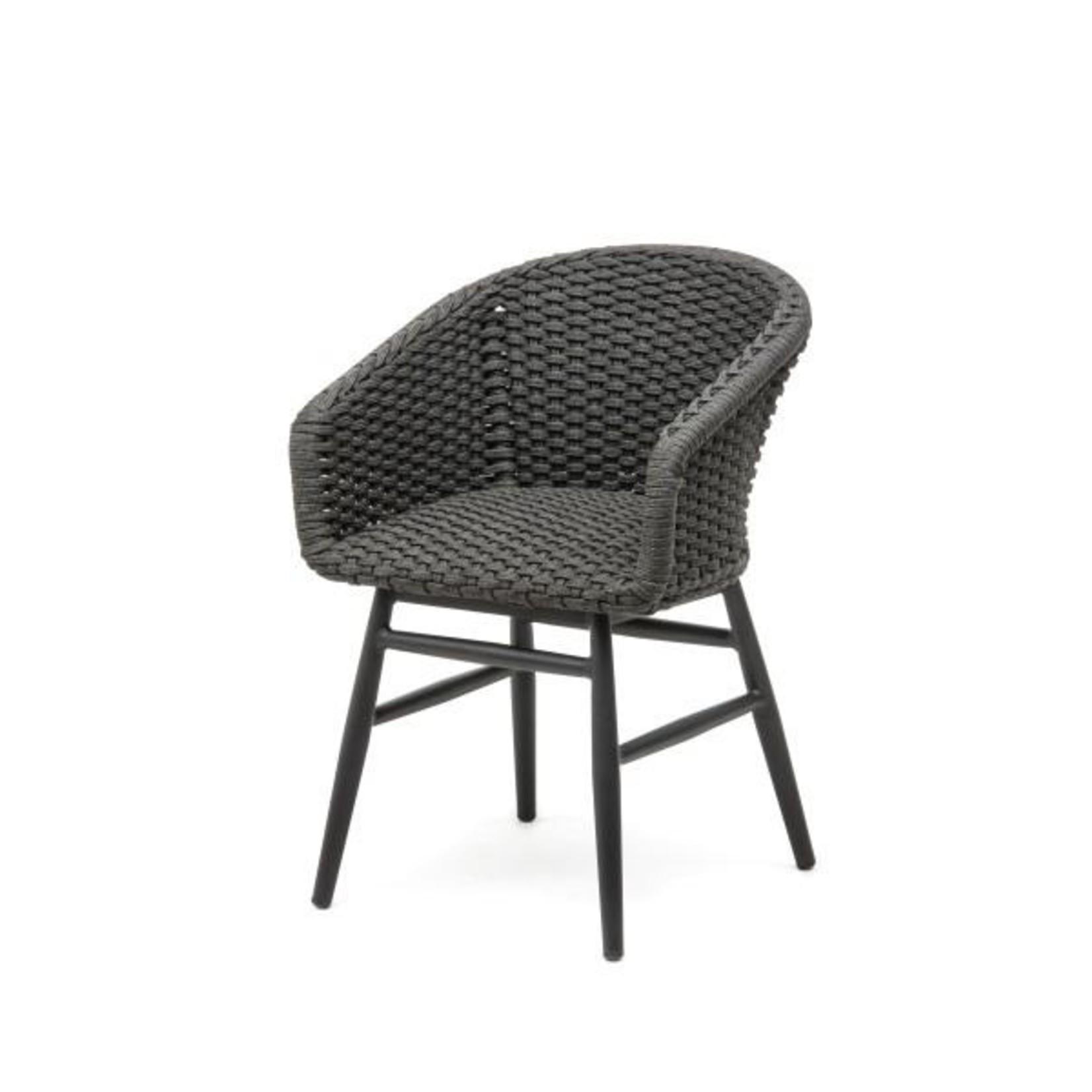 Gommaire Fauteuil Charly | Cadre en aluminium noir mat / corde (siège en mousse à séchage rapide à l'intérieur)