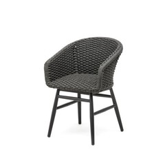 Gommaire Armchair Charly | Aluminum Frame Black Mat & Rope (Quick Dry Foam Seat Inside)