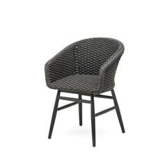 Gommaire Fauteuil Charly | Cadre en aluminium noir mat et corde (siège en mousse à séchage rapide à l'intérieur)