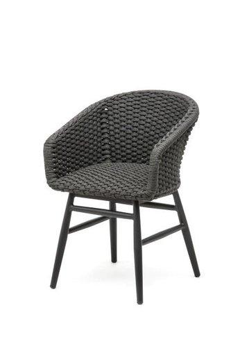 Gommaire Armchair Charly | Aluminium Frame Black Mat & Rope (Quick Dry Foam Seat Inside)