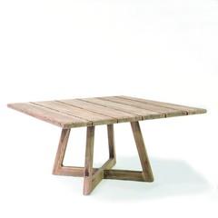 Gommaire Table carrée Dennis   Teck récupéré gris naturel
