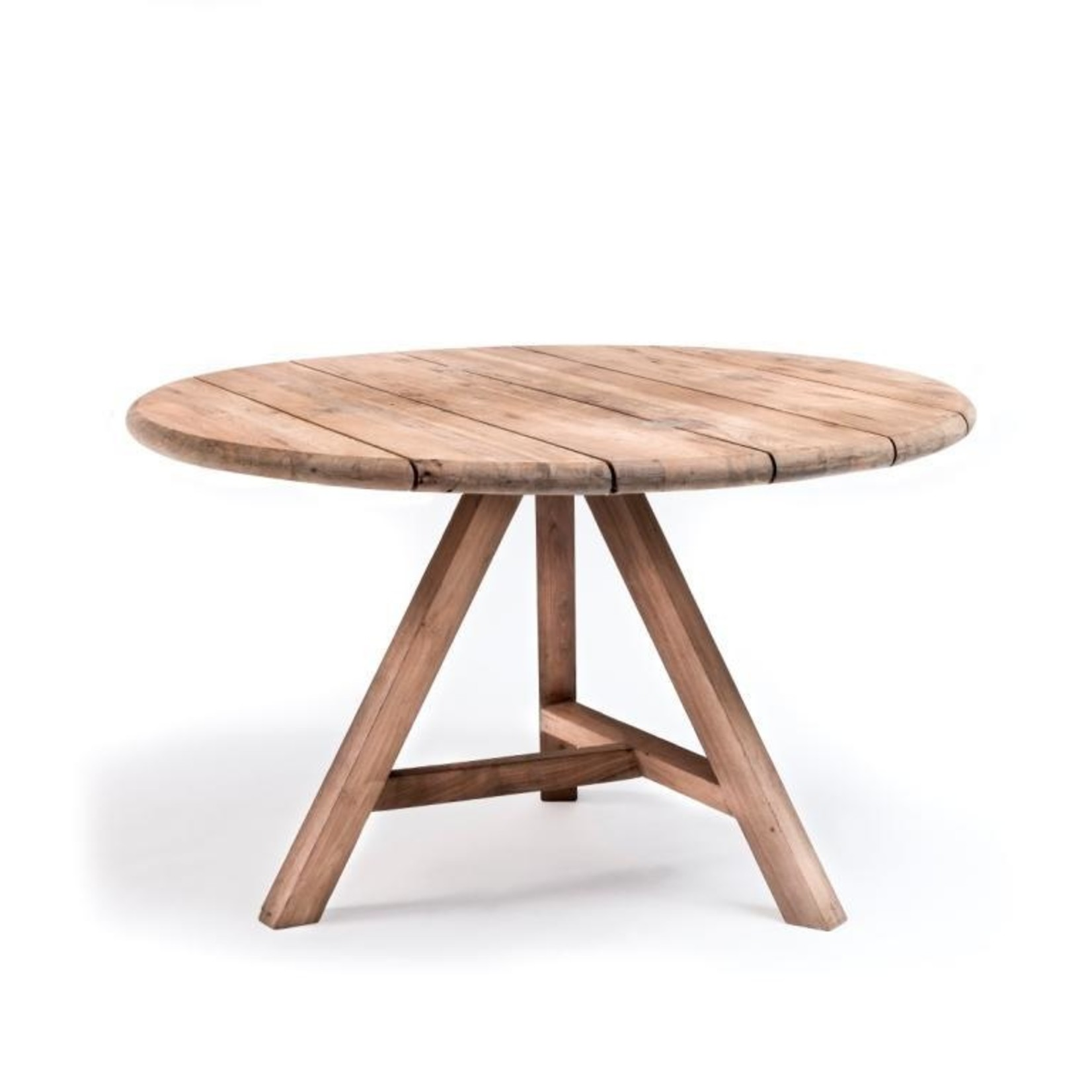 Gommaire Table ronde Anton Small   Teck récupéré gris naturel