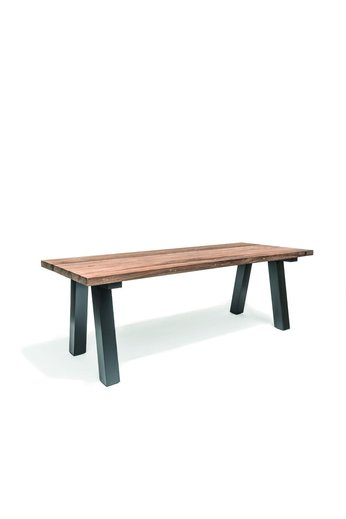 Gommaire Table Antica Outdoor | Reclaimed Teak Natural Gray & Aluminum Black Mat