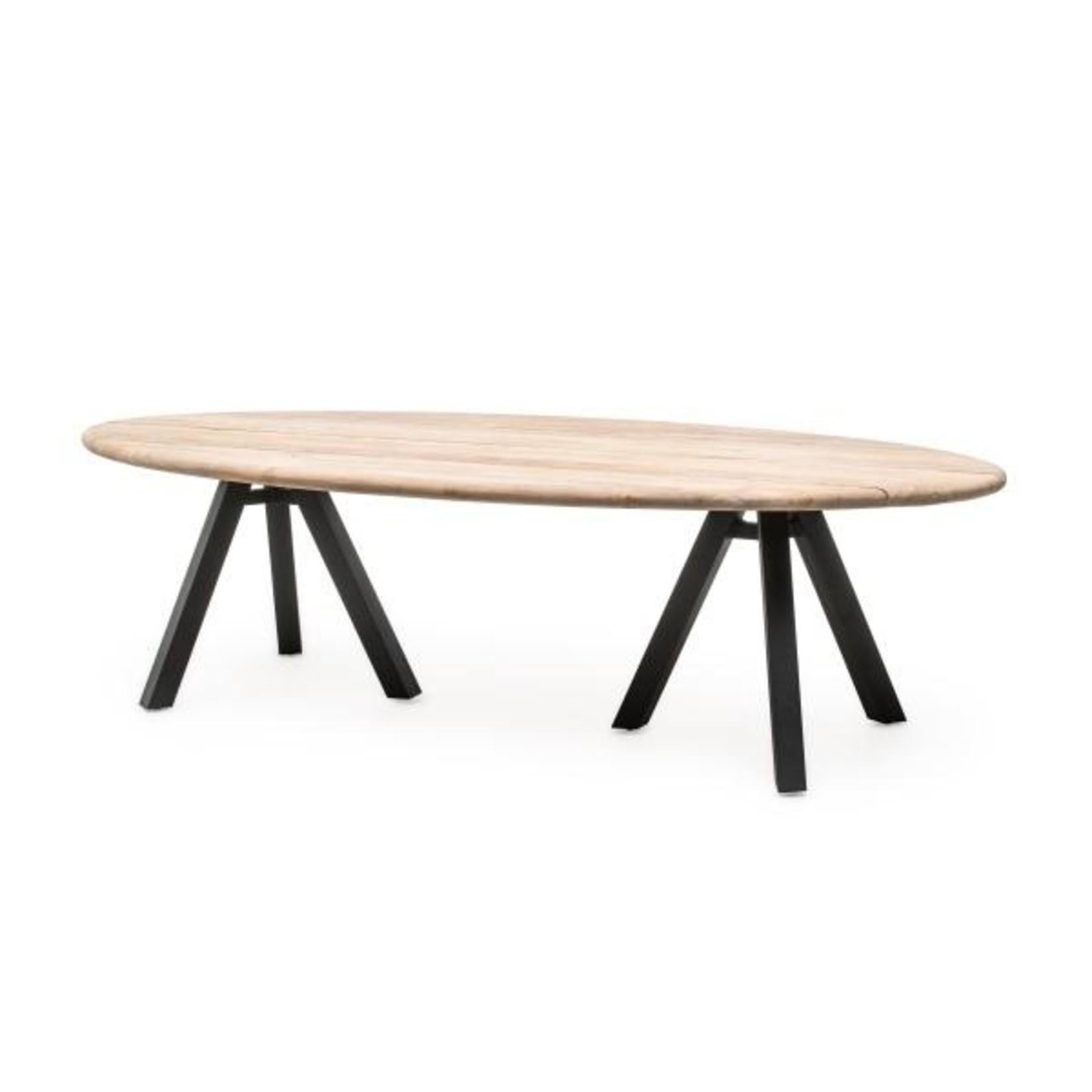 Gommaire Table Samuel | Reclaimed Teak Natural Grey & Aluminium Matte Black