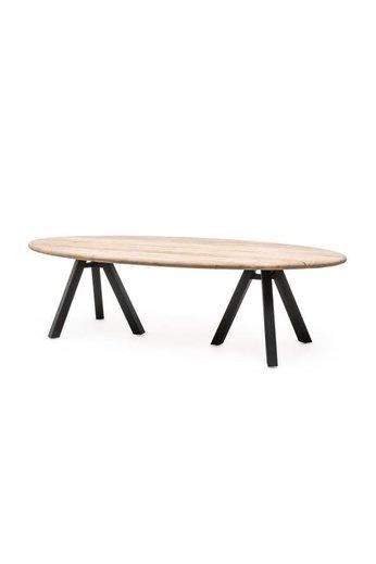 Gommaire Table Samuel | Teak récupéré gris naturel et aluminium noir mat