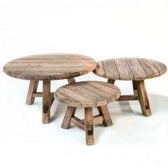 Gommaire Table basse Anton, lot de 3 | Teak récupéré gris naturel