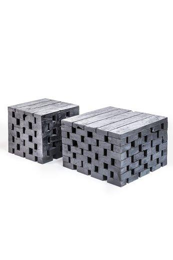 Gommaire Puzzle de table basse   Teck récupéré noir