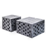 Gommaire Table basse Puzzle grand   Teck récupéré noir