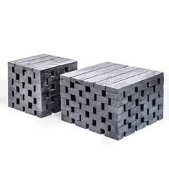 Gommaire Table basse Puzzle Large | Noir de teck récupéré