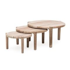 Gommaire De table basse au sol, ensemble de 3 | Teak récupéré gris naturel