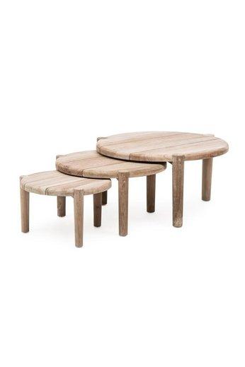 Gommaire Coffee Table Floor Set of 3   Reclaimed Teak Natural Grey